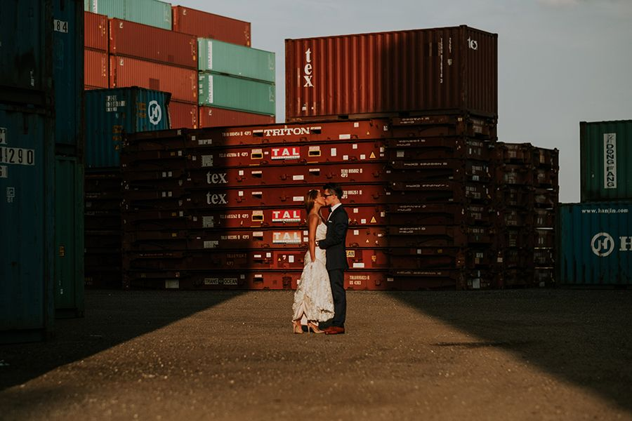 Gorgeously Gritty Day After Wedding Photo Shoot In A Shipping Container Yard Wedding Photoshoot Photo Photoshoot