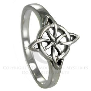 Celtic Quaternary Witches Knot Ring sz 4-15 SS Sterling Silver Wiccan Goddess