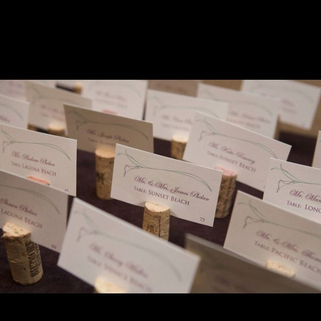 Wine corks for place cards at a wedding.