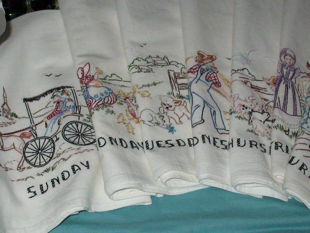 7 VINTAGE 1950 LIFE ON THE FARM-new hand embroidered flour sack dish