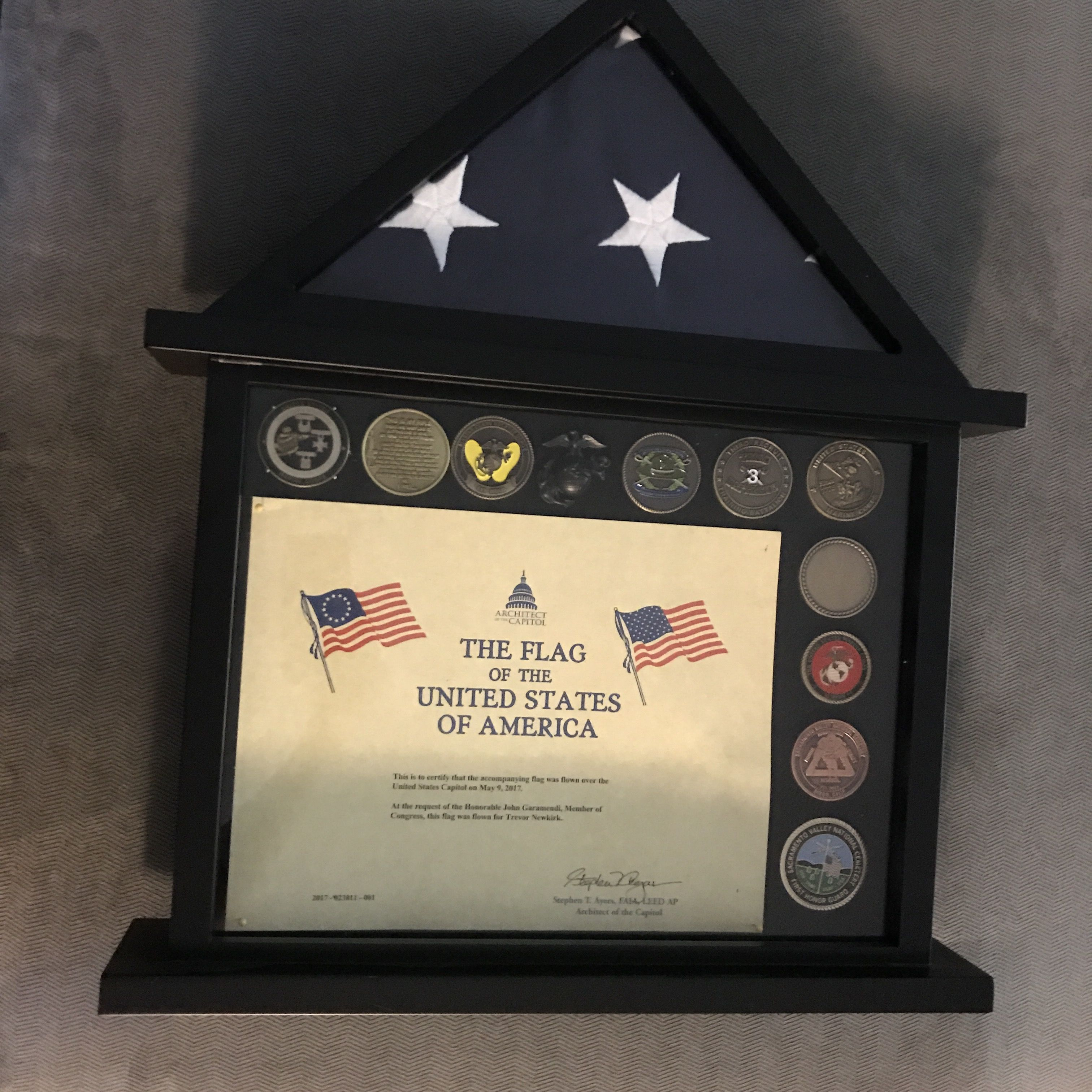 The Flag I Had Flown Over The Capital For My Son In Honor Of Becoming A Us Marine The Certificate His Ega For Mom To Ke Marine Mom Shadow Box Challenge