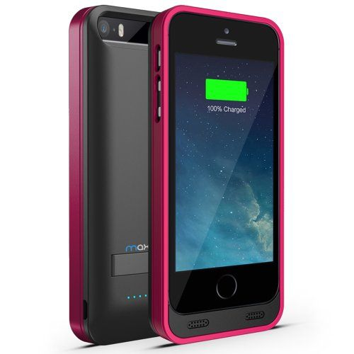 Maxboost Atomic S External Protective iPhone 5S Battery Case / iPhone 5 Battery Case with Built-in Kickstand - Matte Black / Pink (Apple MFI Certified, Fits All Versions of iPhone 5 / 5S - Lightning Connector Output, MicroUSB Input ) [100% Compatible with iPhone 5 / 5S on iOS 7.0+ , Strengthened MicroUSB Input Port, No Signal Reduction] - http://www.rekomande.com/maxboost-atomic-s-external-protective-iphone-5s-battery-case-iphone-5-battery-case-with-built-in-kickstand-matte-b