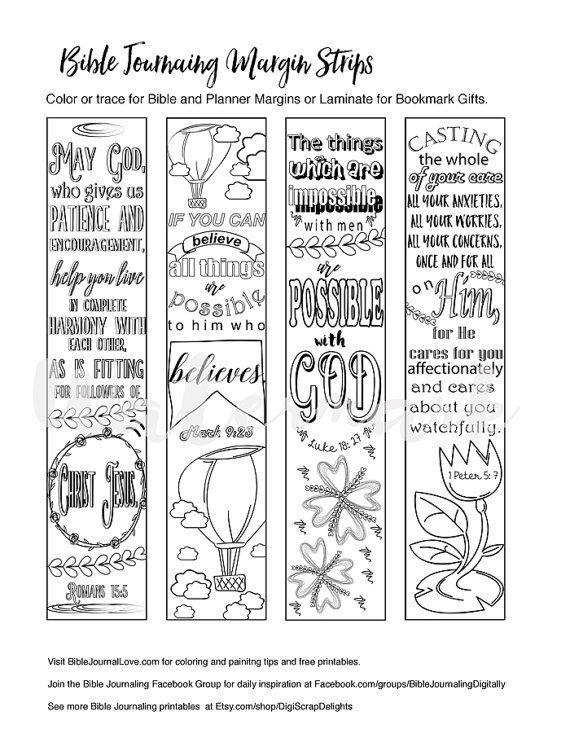 Printable Coloring Bible Journaling Margin Strips Faith