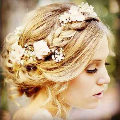 Wedding hair. Side braid up do.