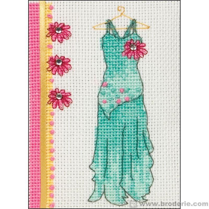 point de croix robe de soirée verte - cross stitch green dress