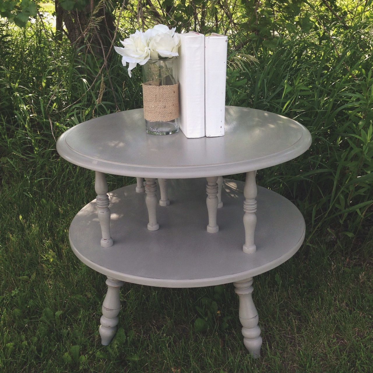 Round End Table Painted With Annie Sloan Chalk Paint   French Linen    Lighted Distressed Finished