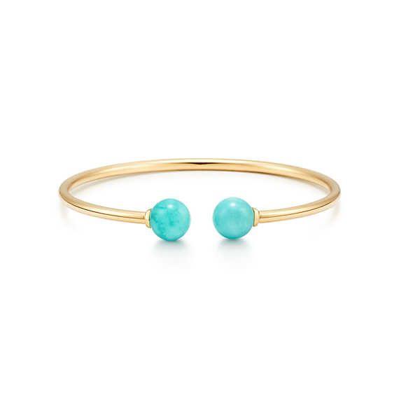 291db3394 Tiffany HardWear ball wire bracelet in 18k gold with amazonites, medium. |  Tiffany & Co.