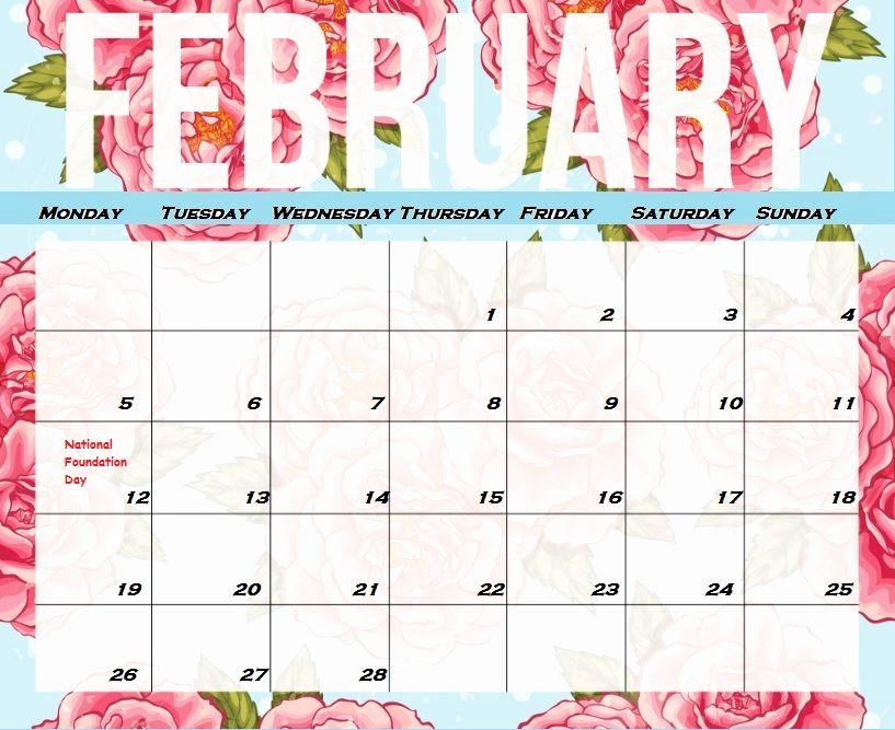 Floral February 2019 Calendar Printable Free Printable February
