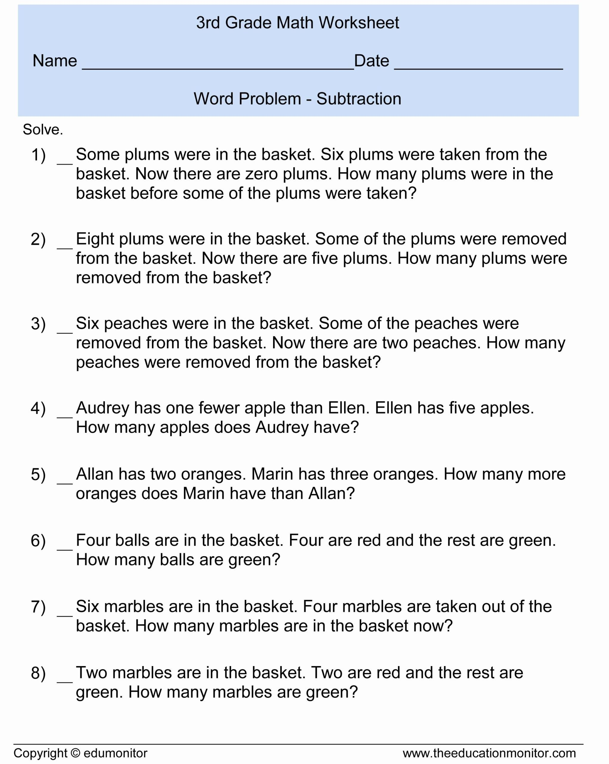9 Readable 2nd Grade Math Worksheets Word Problems 2nd