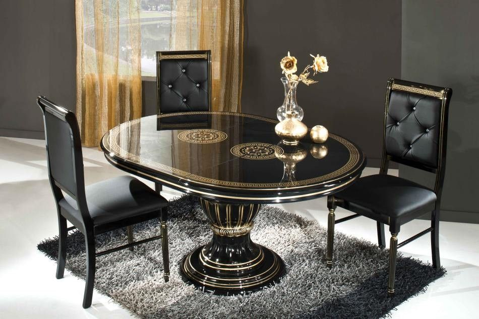 Rossella Black Round Extendable Dining Table Made In Italy