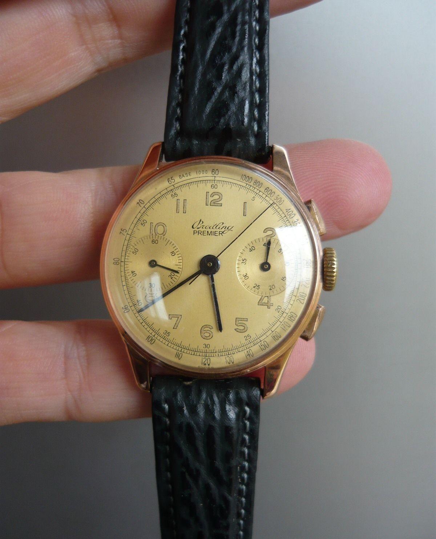 2c5f4775d46 Vintage Solid 18K Gold Breitling Premier 789 Chronograph 1945 Venus cal. 150