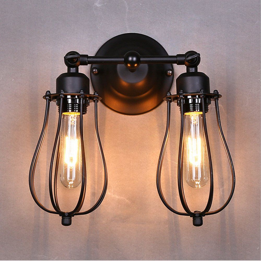 Black Metal Mini Wire Cage 2 Lights Wall Sconce Shade Bulbs Not Included Amazon Com Wall Lamp Shades Wall Lights Industrial Wall Lamp