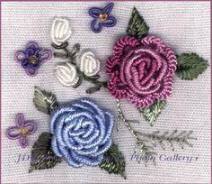 Brazilian embroidery: bullion stitch.