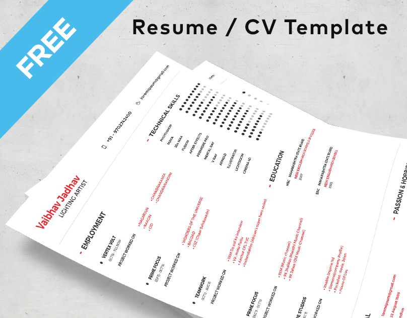 Check out my @Behance project u201cFREE Resume Templateu201d    www - my free resume