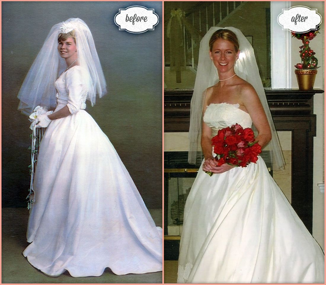 mothers wedding dresses Bride Amy wore her mother s wedding gown shown on the left in Amy was