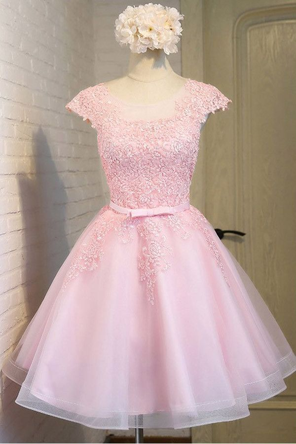 Pink Lace Short Tulle Homecoming Dresses Party Dresses with Cap ...
