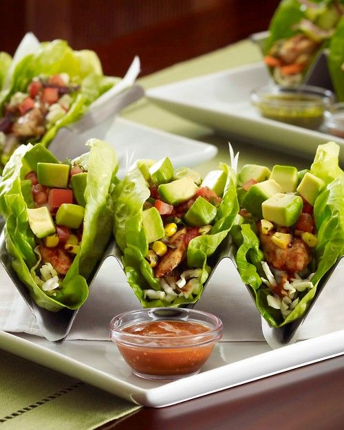 Mediterranean Chicken Lettuce Wrap Tacos Recipe Buffet Food Stations Food Healthy Recipes