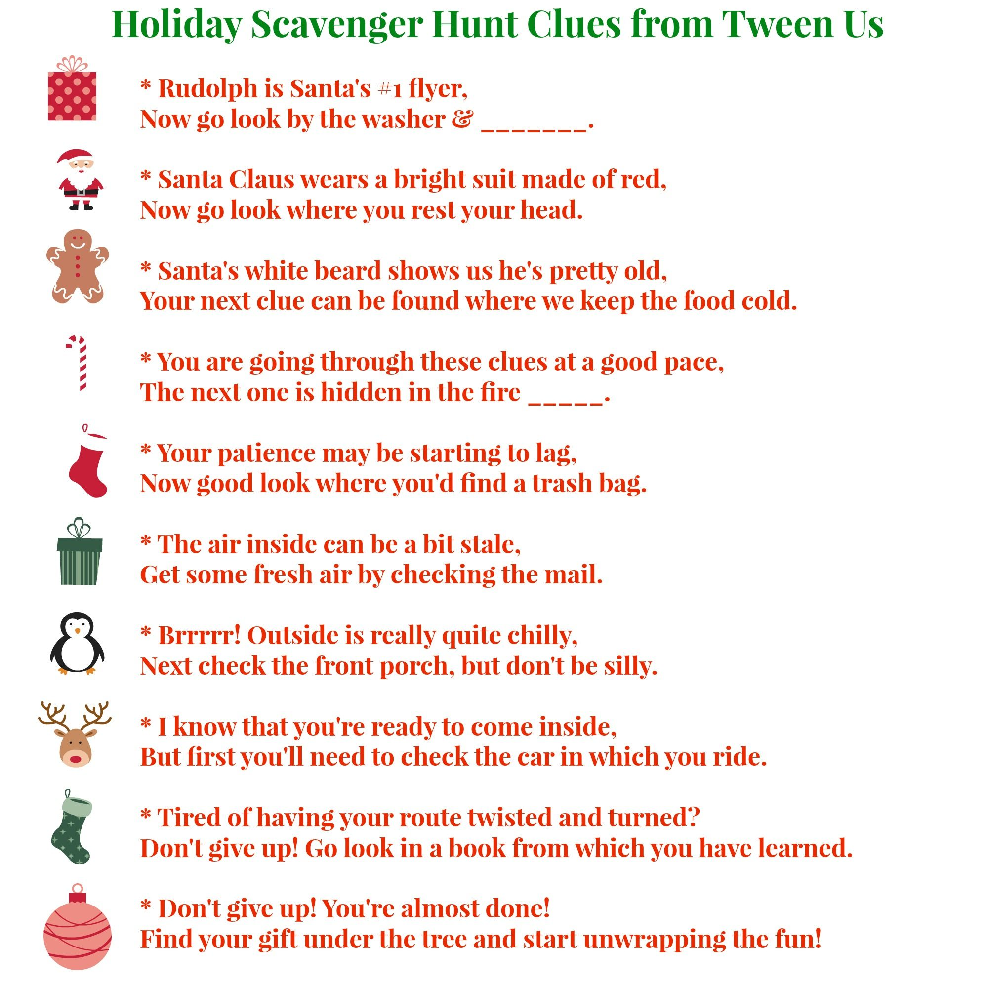 Printable holiday scavenger hunt clues make present finding fun ...