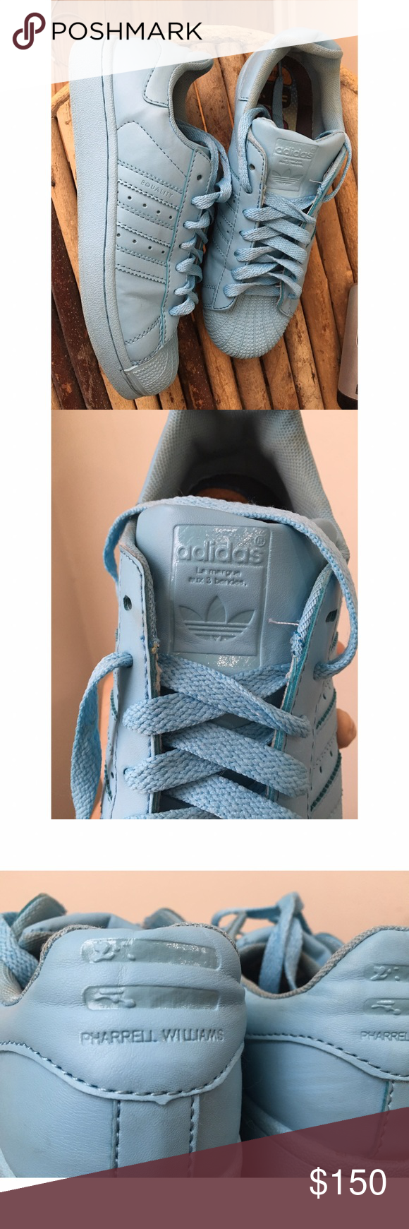 Pharrel X Adidas Supercolor Lightly Sneakers Baby Azul, Talla 8. Lightly Supercolor worn 52be14