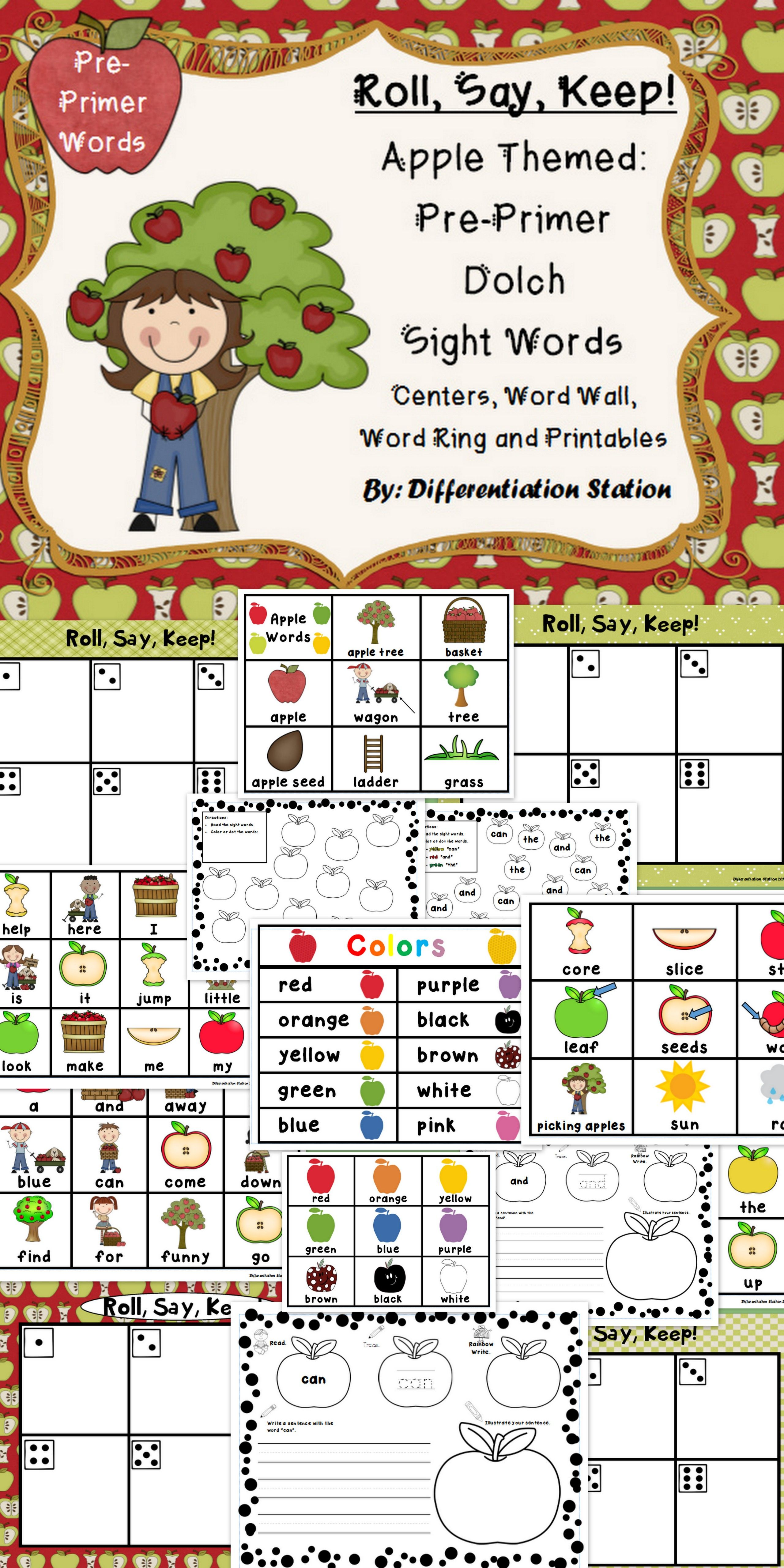 Apple Roll Say Keep Pre Primer Dolch Sight Word Center