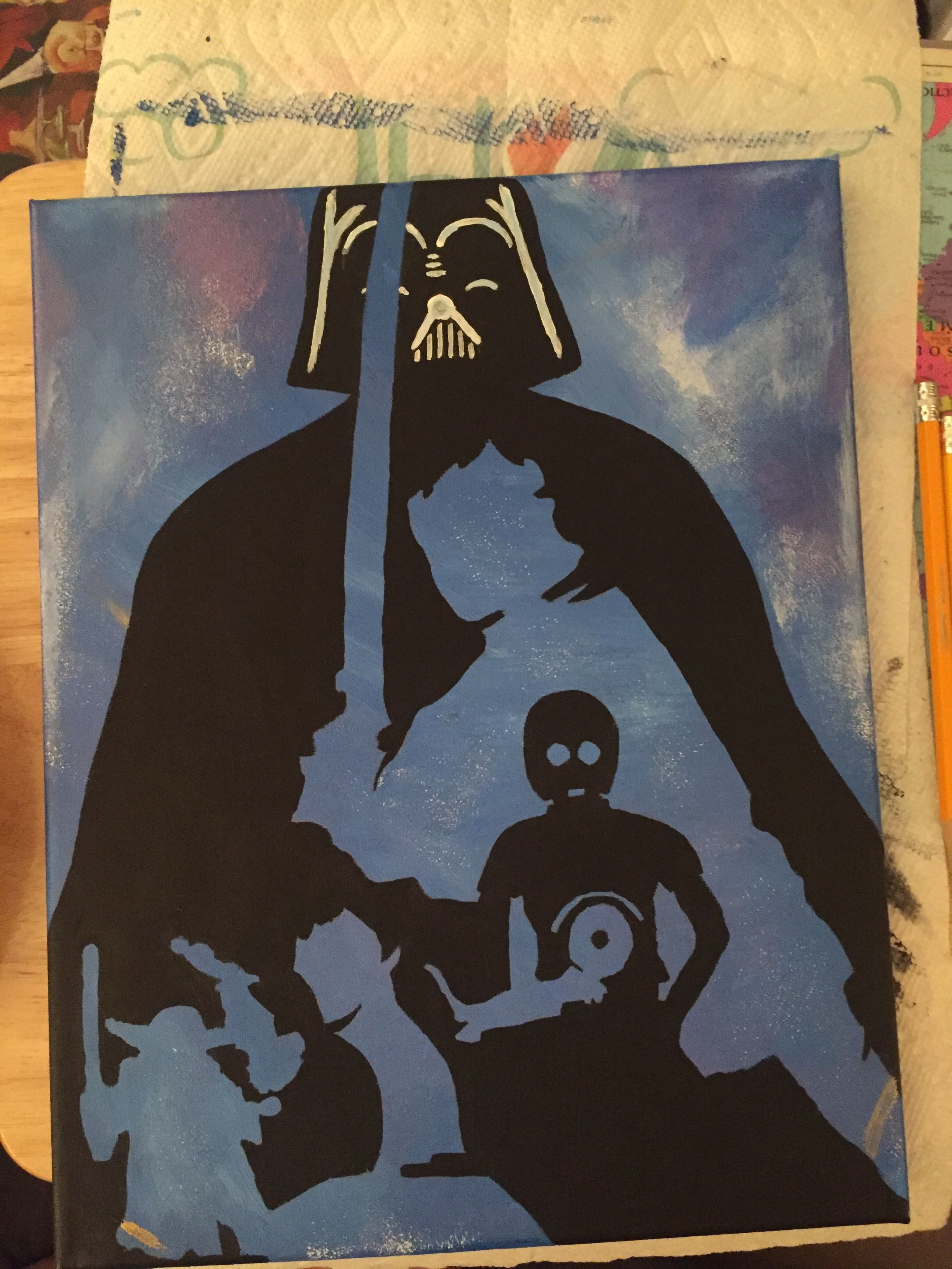 Star wars canvas painting diy blue background my art☺ diy