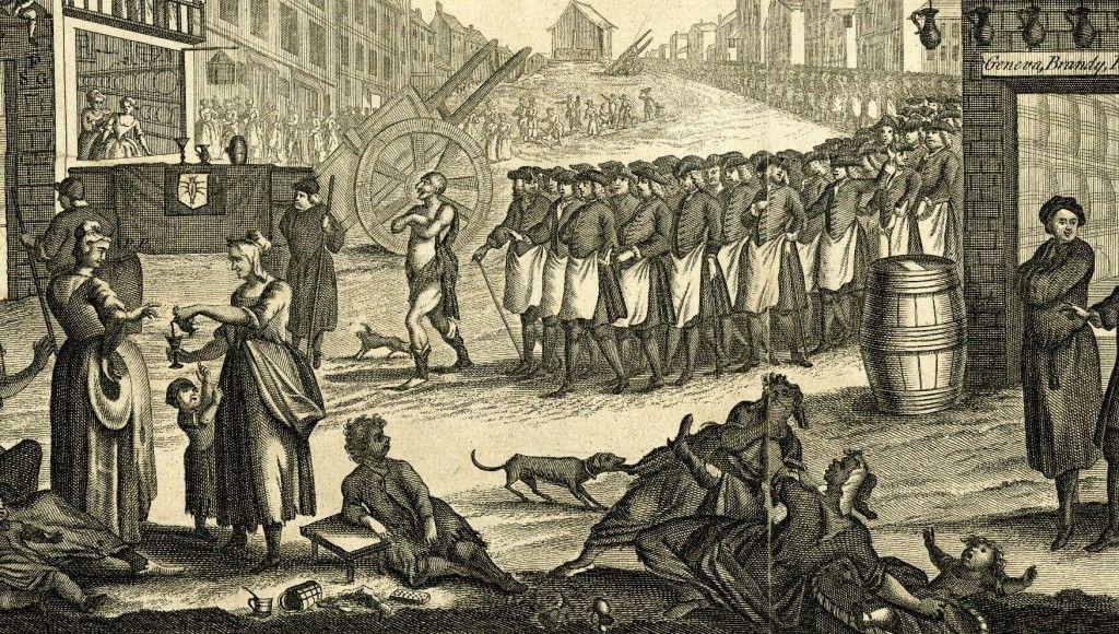 """""""Der Begräbnismarsch von Madame Genf"""".  1751 von John Bowles.  Der Druck zeigt die Mock-Beerdigungsprozession in der Madame Genf von den Bürgern der St Giles Slums"""