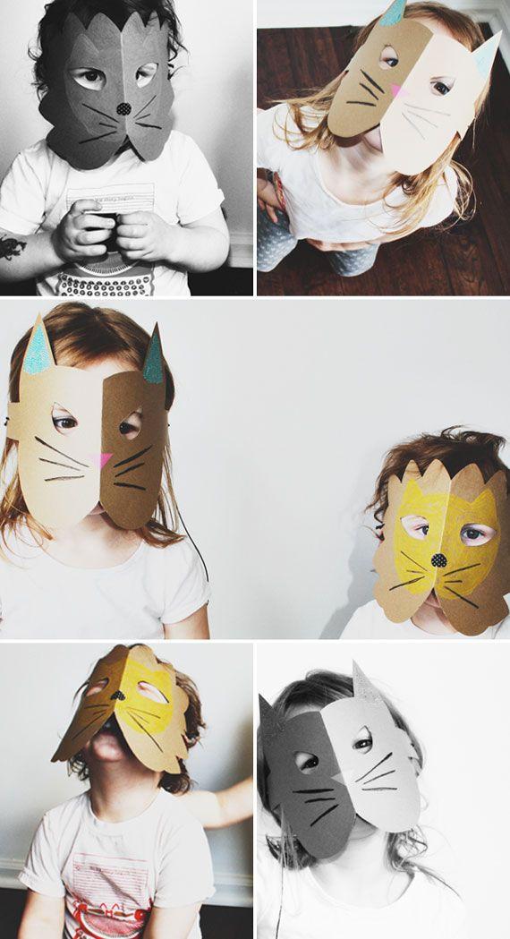 Papel cartão e tinta é o que você precisa pra entrar na brincadeira e criar máscaras divertidas para as crianças. #diversão #família #DIY