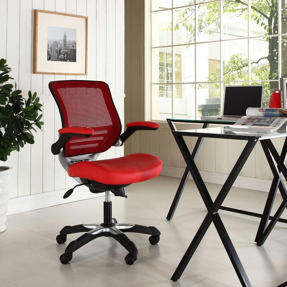 Modway Edge Vinyl Office Chair In Red Eei 595 Red Chair Home Office Furniture Hanging Chair From Ceiling