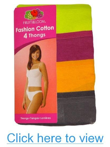 2970aff8226b Buy Fruit of the Loom Women's 4-Pack Cotton Fashion Thong Panties and other  G-Strings, Thongs & Tangas at Amazon.com. Our wide selection is elegible for  ...
