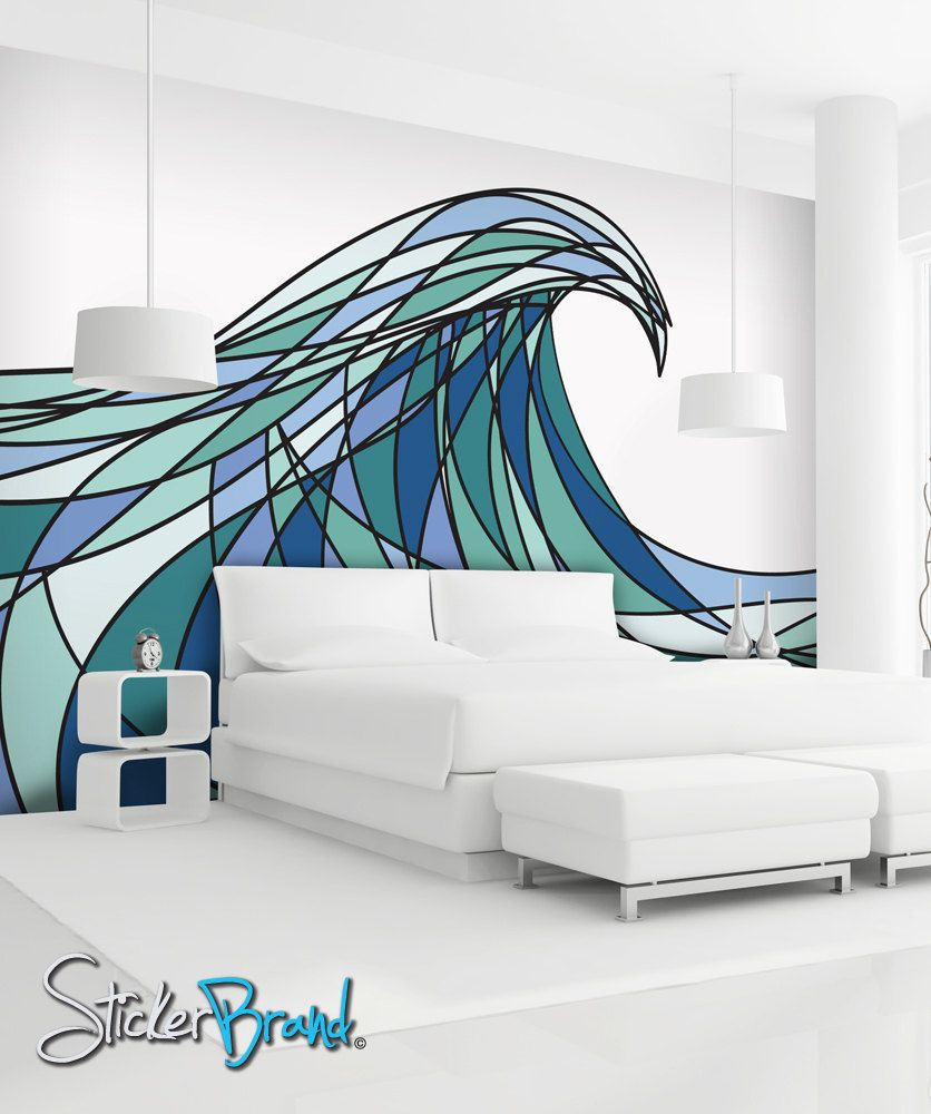 wall mural decal sticker decani ocean wave color on wall stickers painting id=68433