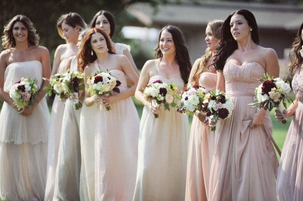 C Pink Ombre Bridesmaid Dresses 2017