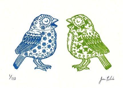 Sugar Skull Birds by José Pulido.