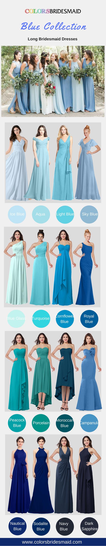 Bridesmaid dresses blue floor length with a train lou pinterest