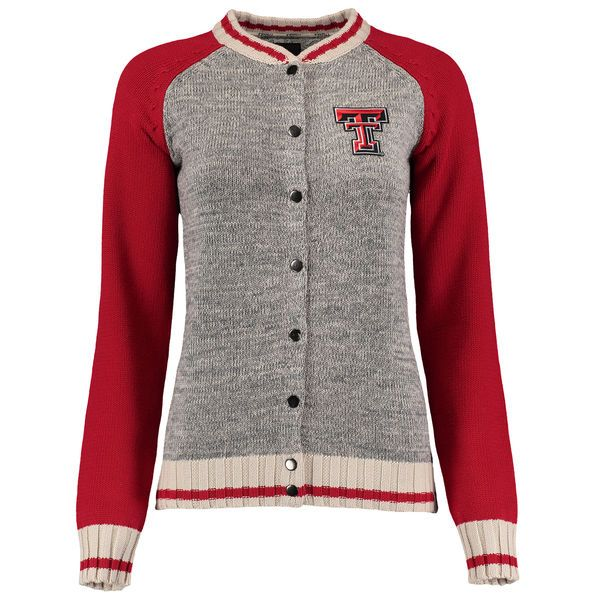 15a8ea288 Texas Tech Red Raiders Renu Women s Letterman Sweater - Heather Gray -   84.99