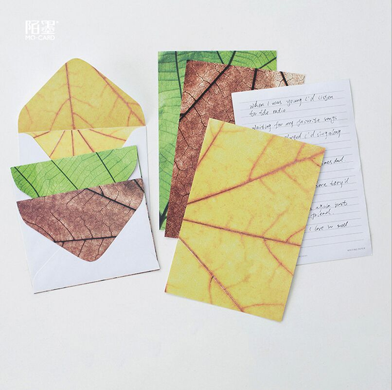 PcsSet Four SeasonS Color Leaves Plants Letter Paper Envelope