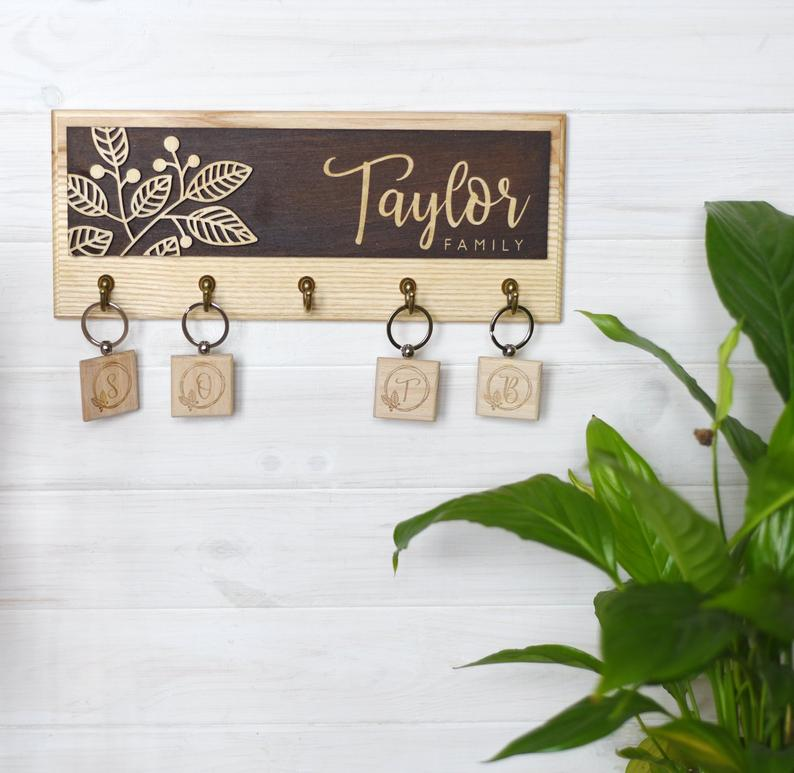 Custom Wooden Key Rack For Wall Rustic Key Hooks Entryway Etsy Wall Key Holder Wooden Key Holder Personalized Key Holder