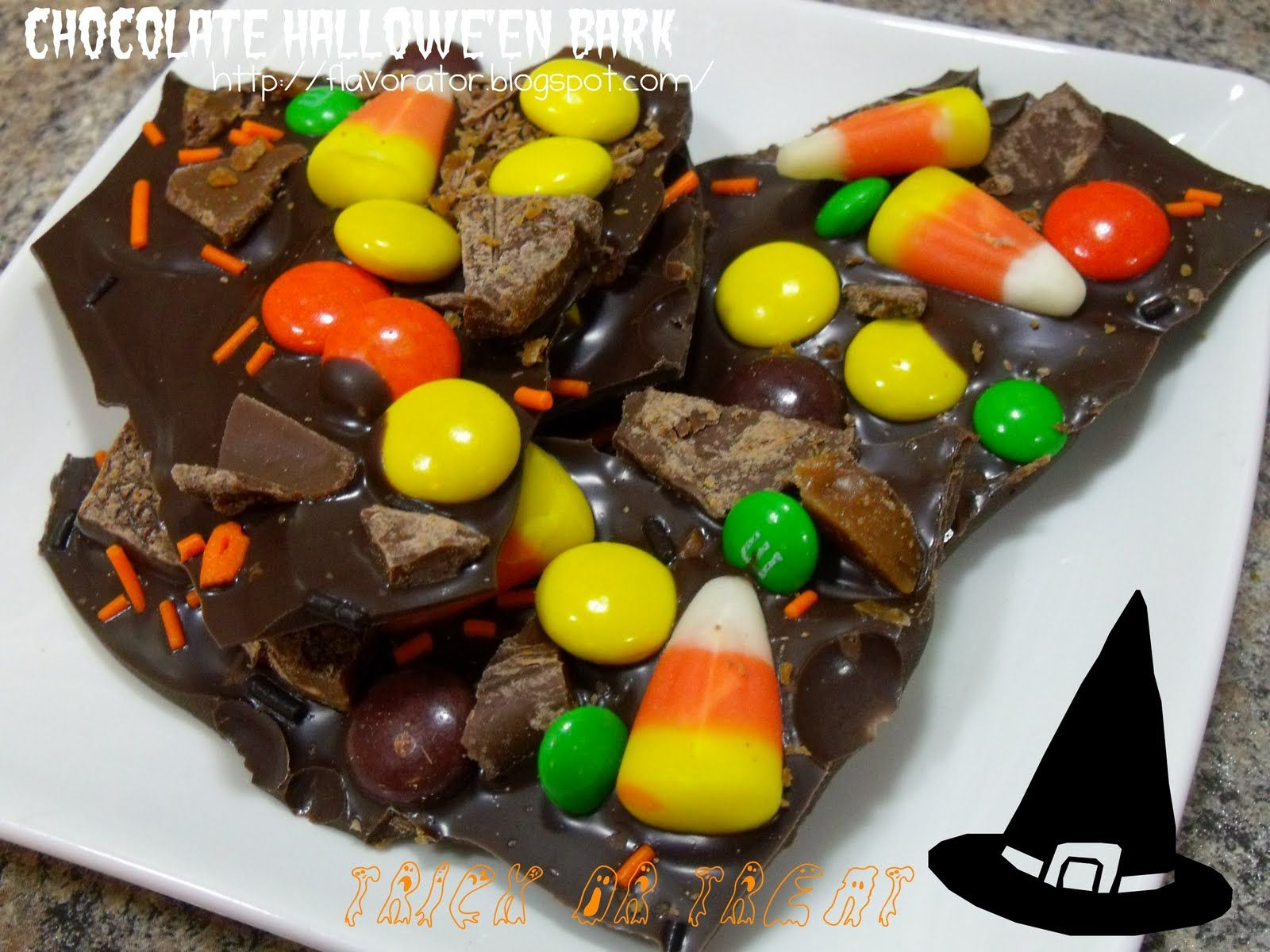 Easy Peazy Hallowe'en Bark + Reece's Pieces/Peanut Butter