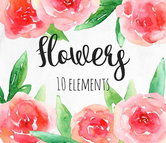 Watercolor red flowers clip art pink floral arrangement romantic clipart abstract hand paint also rh ar pinterest