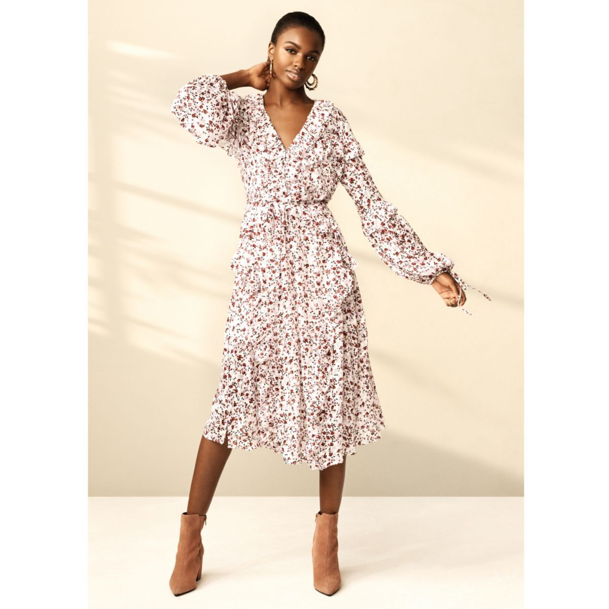 Ri Studio Woven Fabric Ditsy Floral Print Frill Detail Long Sleeve With Tie Cuff V Neck Maxi Length Our Model W Guest Dresses Dresses Wedding Guest Outfit Fall [ 1200 x 1200 Pixel ]