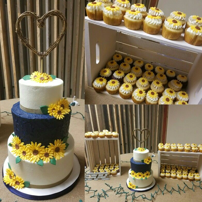 Sunflower Navy Blue Burlap Wedding Cake Sunflower Wedding