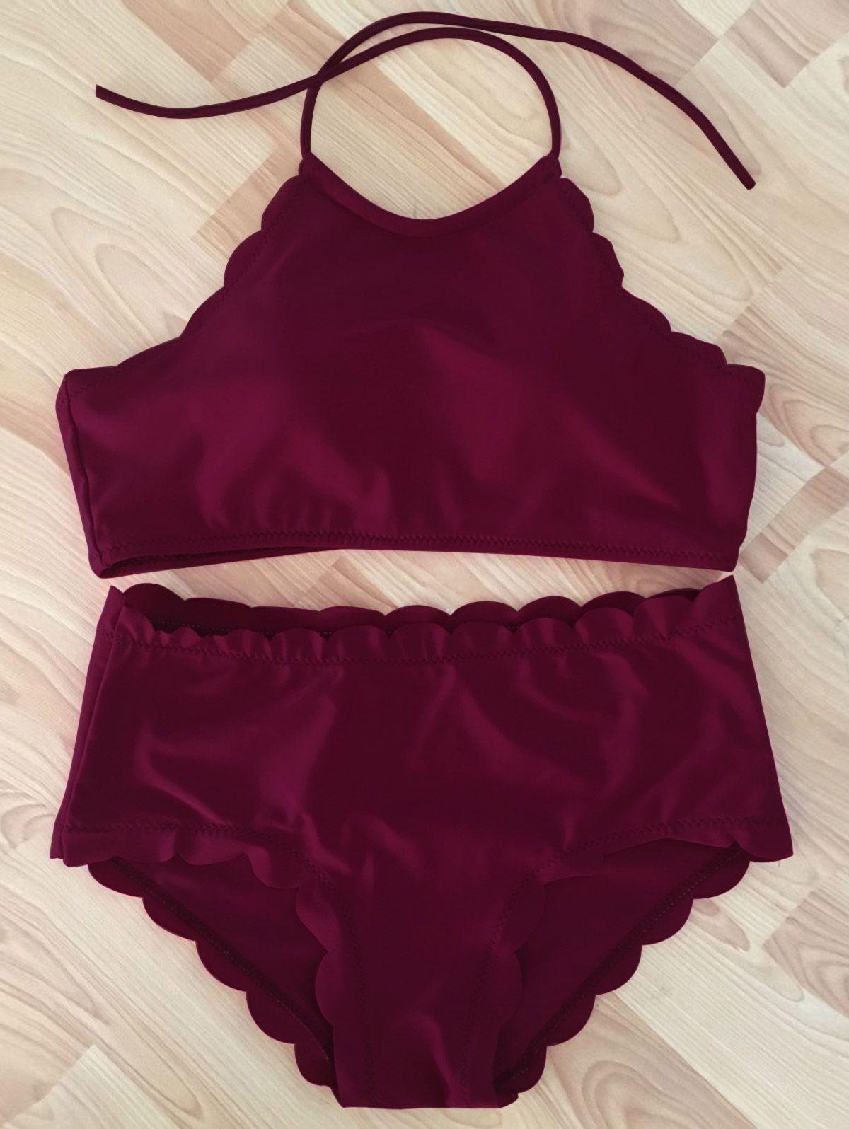849c2eabf30ca Wine Red High-Neck Scalloped Bikini Set #Wine #Red #High_Waisted #Bikini  #Swimwear #Fashion