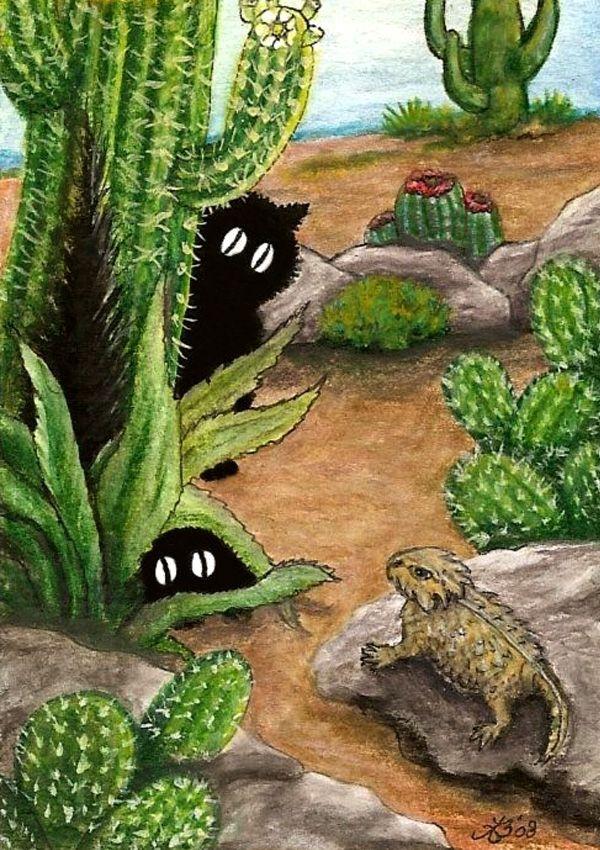"""Black Cat Visit Desert Texas Horned Lizard Cactus"" par"