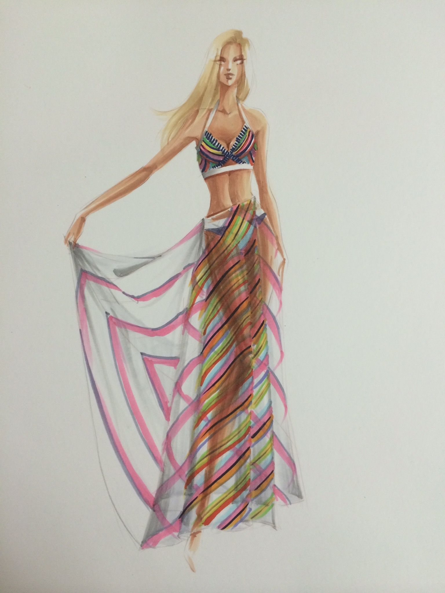 Sheer drape with stripes rendering4 by Leah Won