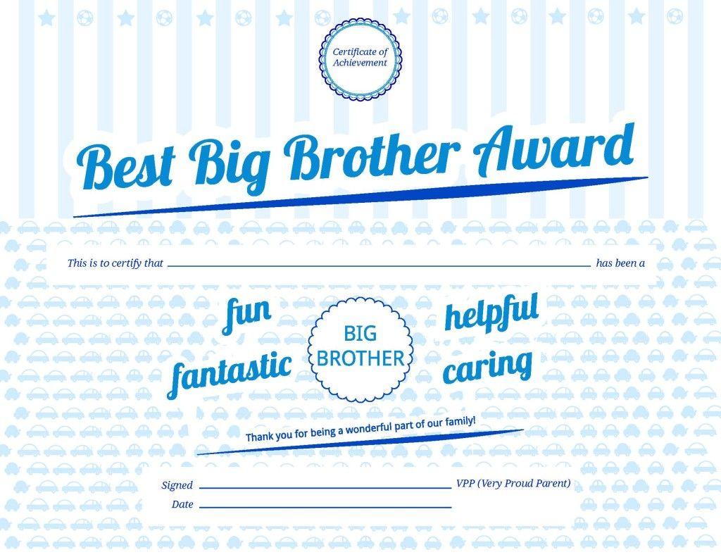 Big Brother Award Free Printable