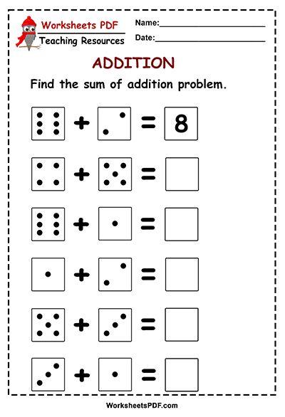 Dice Worksheets For Kindergarten