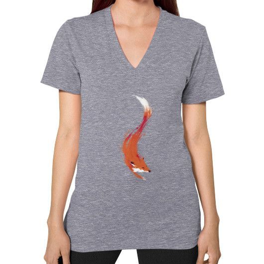 The Quick Orange Red Fox V-Neck (on woman)