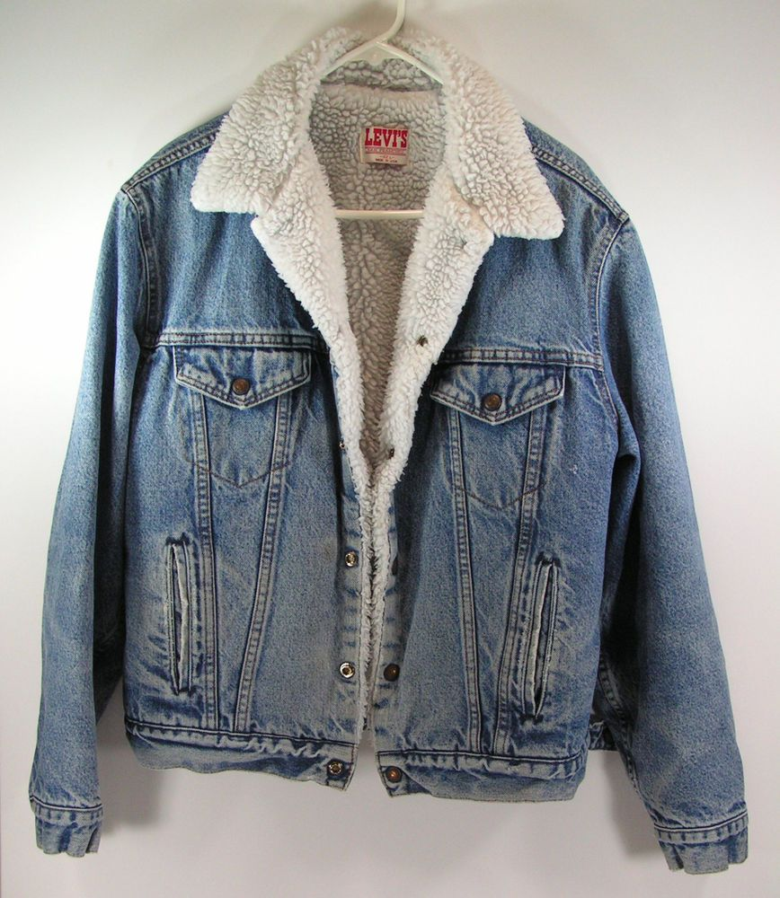 Vintage Levis Denim Jacket Mens 42 L Sherpa Lined Insulated Blue Jean Cowboy Levis Deni Denim Jacket Men Outfit Sherpa Lined Denim Jacket Sherpa Denim Jacket