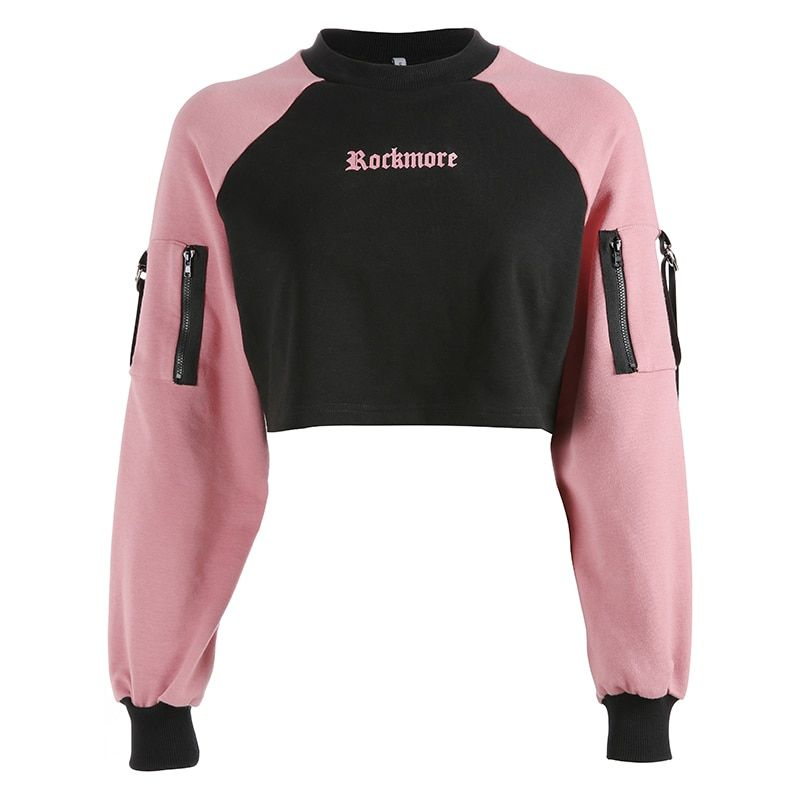 f25524a6b2340 Aliexpress New Arrival Korean Style Woman Hoodies Letter Printed Casual Crop  Top Hoodie Sweatshirt Female Black Pink Long Sleeve Pullover