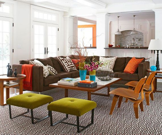 Big comfy brown couch used in a light and cheerful living - Refurbished living room furniture ...