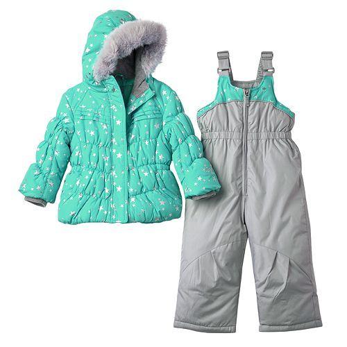 b62fed1c2 Toddler Girl ZeroXposur Star Puffer Jacket & Bib Snow Pant Set ...